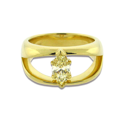 1 carat fancy yellow marquise diamond set in 18 k yellow gold