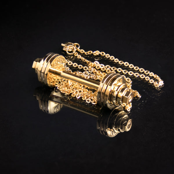 18k Gold Plated Barbell Necklace