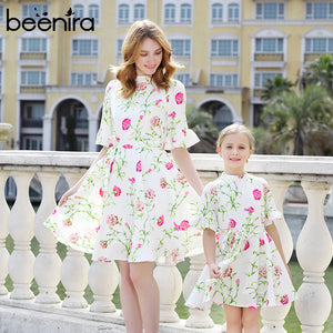 2017Autumn Beenira Family Matching Outfits Mother Or Daughter Floral Dress Half Sleeve Party Dress Beach Knee Length Girls Dress