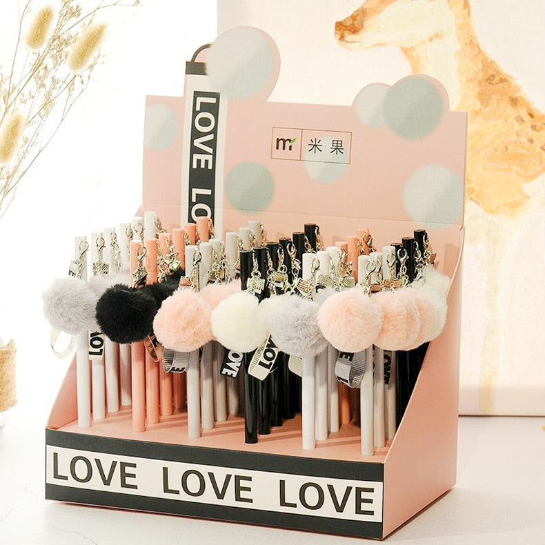 Love Plush Ribbon Pendant Gel Pen Ink Pen Promotional Gift Stationery School & Office Supply