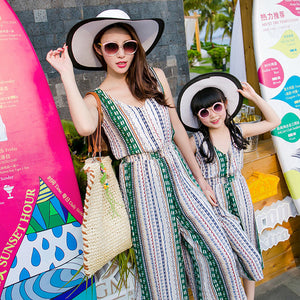 chifuna Mother Daughter Bohemian Maxi Dress Family Matching Outfits 2018 Fashion Mommy and Me Striped Long Dress Family Fitted