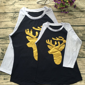 MVUPP family look tshirt mother daughter clothes gold deer patchwork long sleeve mommy and me clothing baby girl funny t shirts