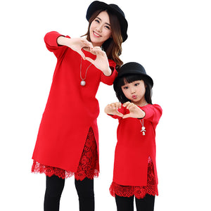 V-TREE Winter Lace Mother Kids Dress Knit Sweater Dresses For Girls Party Mom And Daughter Dress Mother Daughter Dresses
