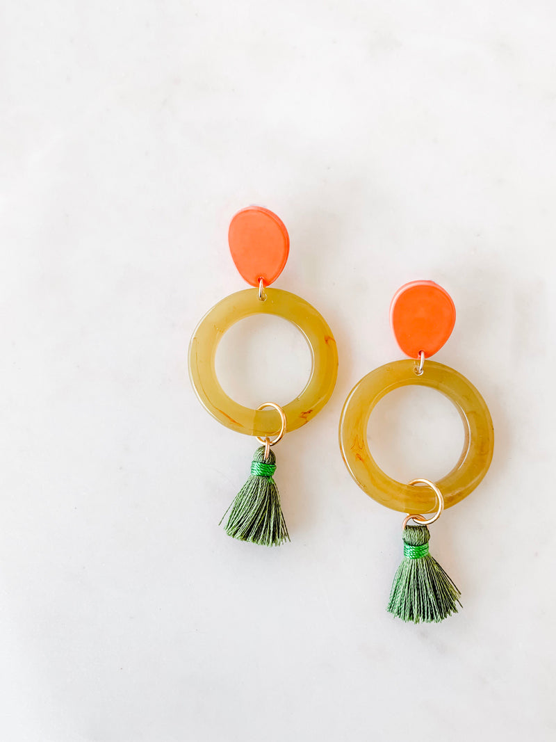 tropical acrylic summer tassel earrings