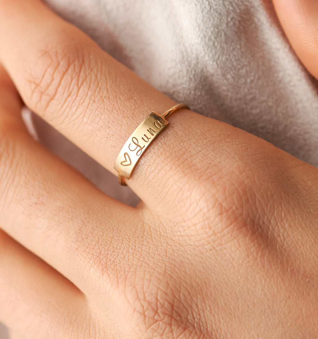 Small Personalized Bar Ring