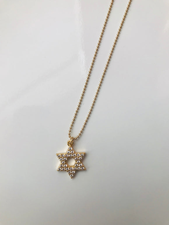 STAR OF DAVID CRYSTAL NECKLACE
