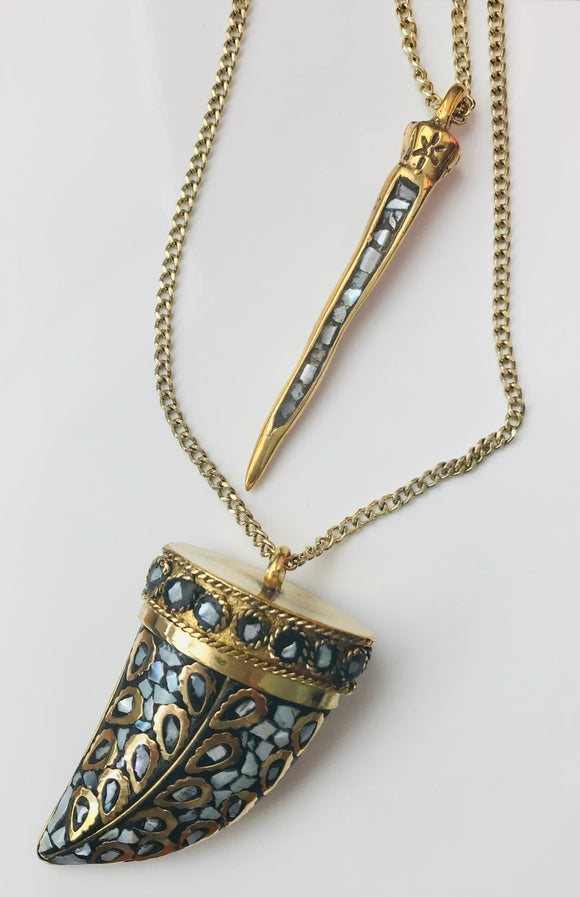 TIBETAN SPIKED LAYERED NECKLACE