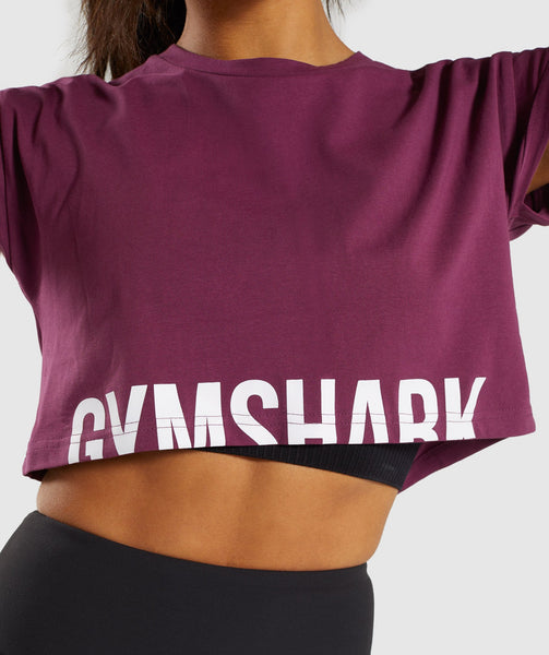 Gymshark Fraction Crop Top - Dark Ruby/White 4