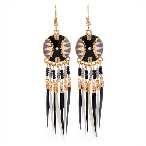 Black Enamel Feather Statement Earrings - IndependentBoutique.com