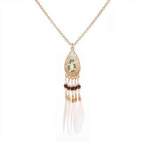 Enamel & Gold Tone Feather Necklace in Cream - IndependentBoutique.com