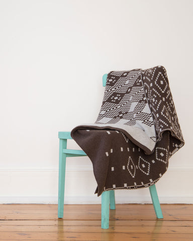 Brown Fairisle Lambswool Kinshy Blanket - IndependentBoutique.com