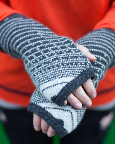 Woolly Dark Grey and White Fairisle Handwarmers Made in Scotland