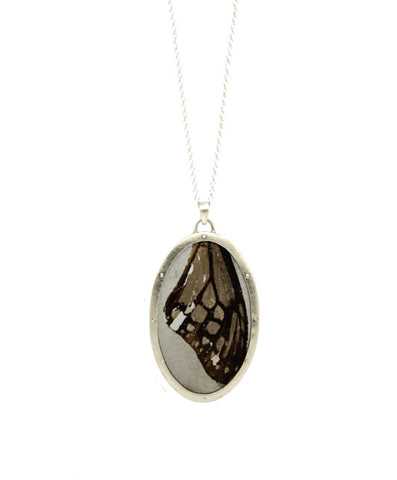 Medium Oval Pendant - Silver & Stainless Steel - IndependentBoutique.com