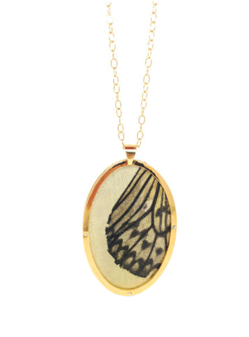 Butterfly Oval Pendant - Gold - IndependentBoutique.com