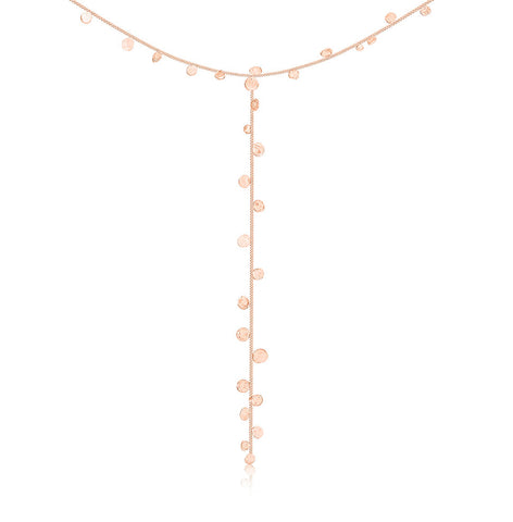 Stardust Falling Stars Rose Gold Lariat Necklace