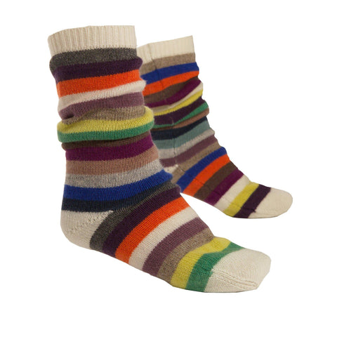 Multicolour Cashmere Stripy Long Sock - IndependentBoutique.com