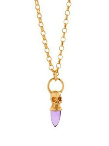 Voodoo Skull Necklace - Gold Vermeil & Amethyst