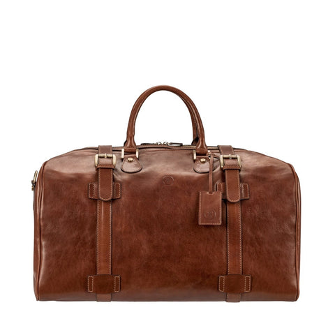 Tan Flero Large Leather Overnight Bag