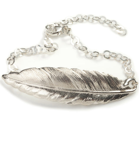 Silver Plated Feather Bracelet