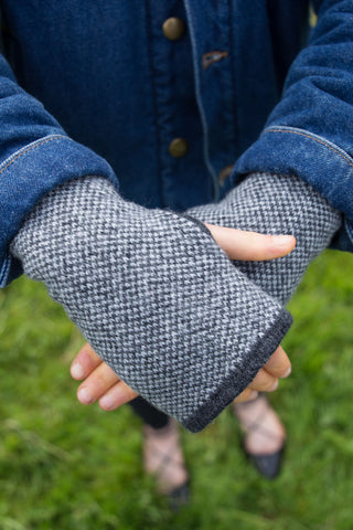 Woolly Charcoal and White Tweed Fairisle Handwarmers Made in Scotland