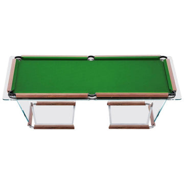 T1.2 Crystal Pool Table with Leather or Walnut Covers by Marc Sadler for Teckell