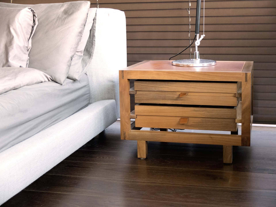 OPTIMUM Walnut Two Drawers Bedside Table by Stephane Lebrun for Dessie'