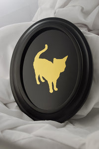 custom mirrored gold sihouette portrait of cat