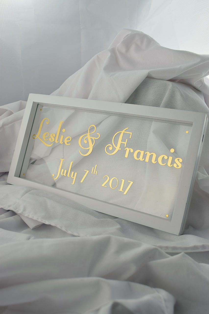 white floating frame with gilded glass, wedding gold sign
