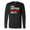 Life Happens Lipstick Helps Long Sleeve Tee Unisex T-shirt Lipstick Kiss Print - 5 colors available PLUS Size S-2XL MADE IN THE USA