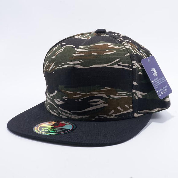 Pit Bull Tiger Camouflage and Black Two Tone Blank 5 Panel Snapback Hats Whoelsale.