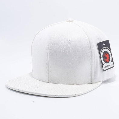Pit Bull Suede Perforated Leather Snapback Hats Wholesale [White]