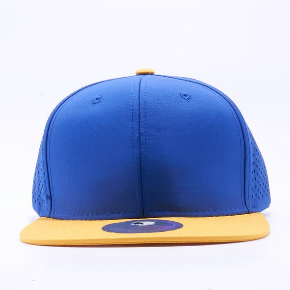 PIT BULL Blank Snapback Hats Wholesale, Custom Snapback Hats - Royal Gold Perforated Snapback Hats