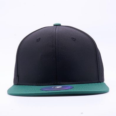 PIT BULL Blank Snapback Hats Wholesale, Custom Snapback Hats - Black Dark Green Perforated Snapback Hats