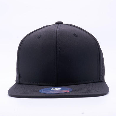 PIT BULL Blank Snapback Hats Wholesale, Custom Snapback Hats - Black Perforated Snapback Hats