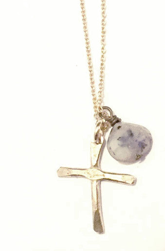 14K Yellow or White Gold Small Cross Necklace with Jasper