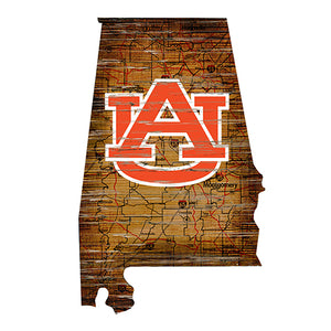 Auburn University Distressed State with Logo