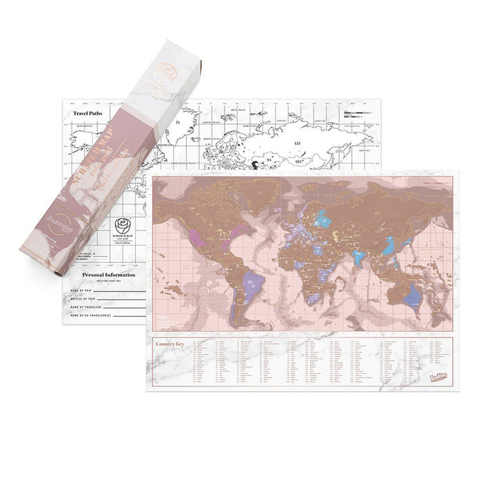 Rose gold mini scratch map travel