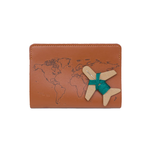 Stitch passport cover in brown