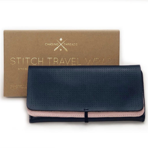 Customisable stitch travel jewellery wrap in navy leather