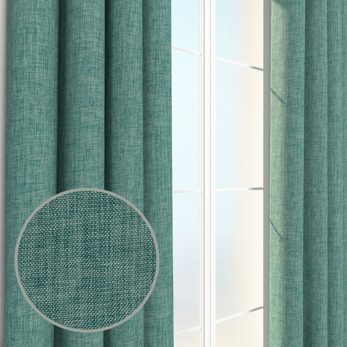 Pair of Louis Burlap Linen Weave Chambray Curtains, Drapery Panels & Window Treatments with FREE Rod