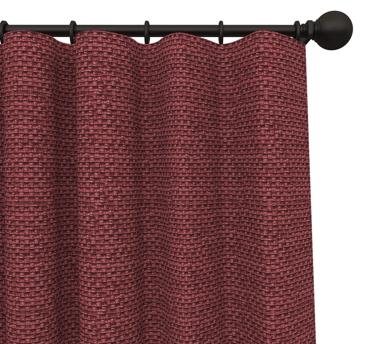 Pair of Rochelle Over Sized 1/4 Inch Repeat Textured Basket Weave Curtain Panels with FREE Curtain Rod