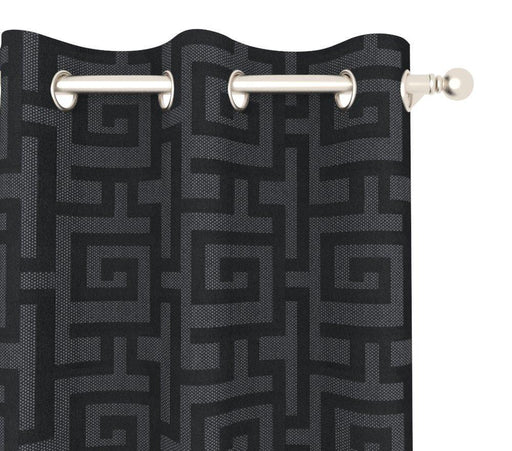 Pair Layla Greek Key Geometric Cotton Blend Curtain Panels with FREE Curtain Rod