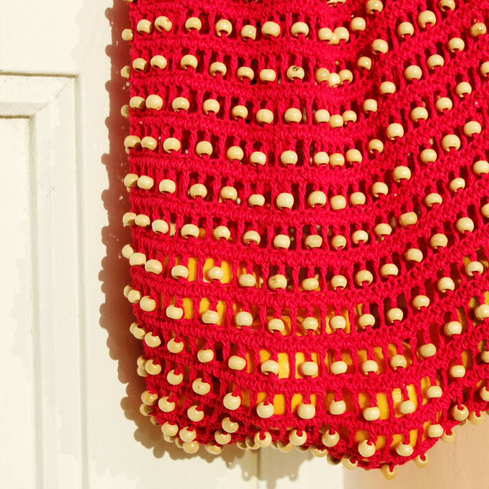 Kama Wooden Crochet Beads Bag in Red
