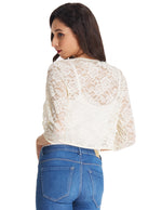 Womens 3/4 Sleeve Cropped Short Lace Bolero Shrug Cover Cardigan Tops Blouse