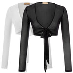 Beach Shrug Bolero Mesh Ladies Long Sleeve Tie Front Coats Cropped Tops Cover Up