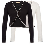 Womens Long Sleeve Bolero Shrug Contrast Cardigan Open Front Cape Short Jacket