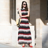 Chiffon Striped Maxi Dress