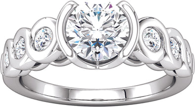 Diamond-Accented Open Bezel Set Ring