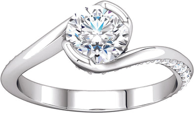 Diamond-Accented Bypass Ring