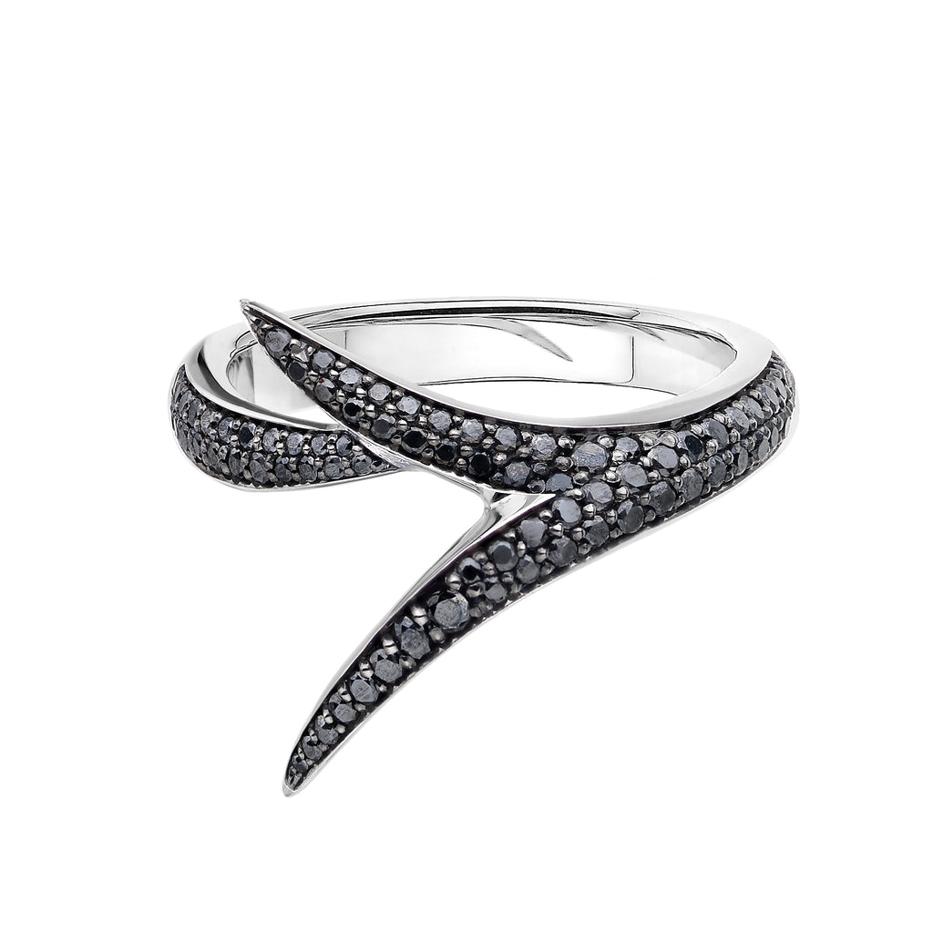 18ct White Gold And Black Diamond Interlock Me Promise Ring